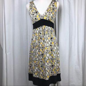 DVF Ophelia 100% Silk Black, Yellow & White Dress